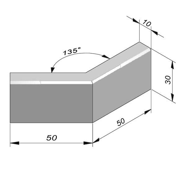 Product image for Bordure Classic coin extérieur 135° chanfrein 1,3/1,3 30x10cm (Hxl)