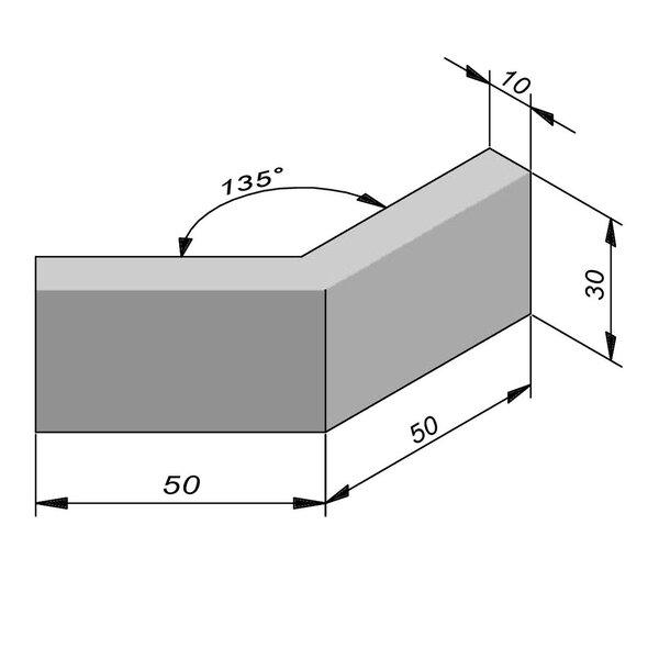 Product image for Bordure Classic coin extérieur 135° type ID1 plane 30x10cm (Hxl)