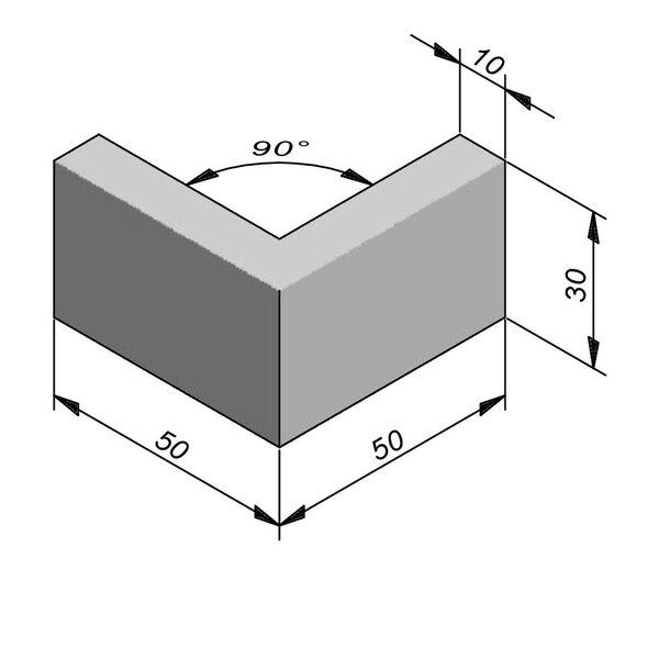 Product image for Boordsteen Classic hoek 90° type ID1 vlak 30x10cm (HxB)