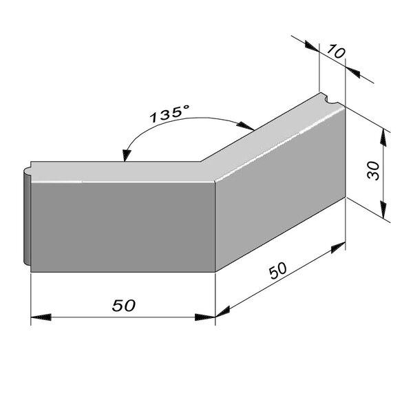Product image for Bordure Classic coin extérieur 135° tenon/mortaise 30x10cm (Hxl)