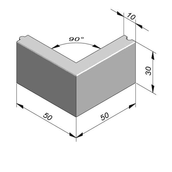 Product image for Bordure Classic coin extérieur 90° tenon/mortaise 30x10cm (Hxl)