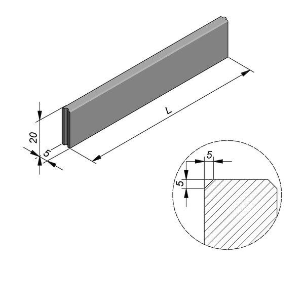 Product image for Bordure Classic tenon/mortaise 20x5cm (Hxl)