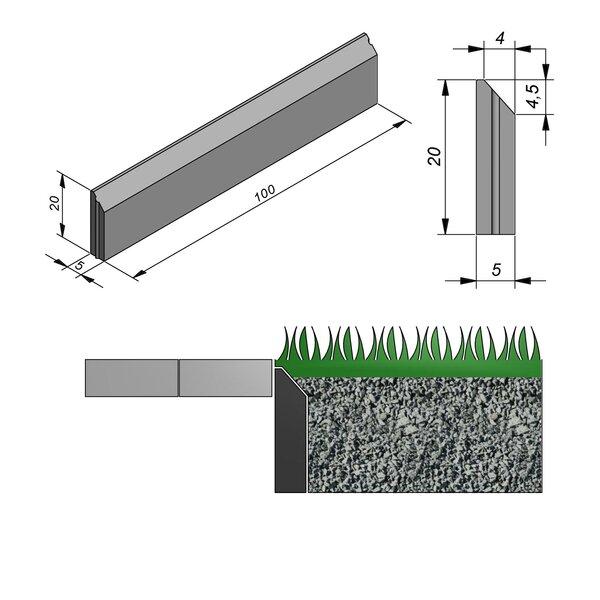 Product image for Grasboordsteen Discrète hol/bol 20x5cm (HxB)
