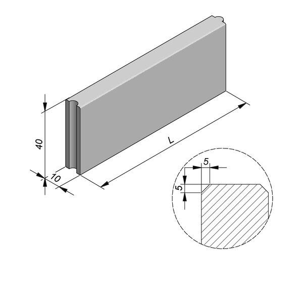 Product image for Bordure Classic tenon/mortaise 40x10cm (Hxl)