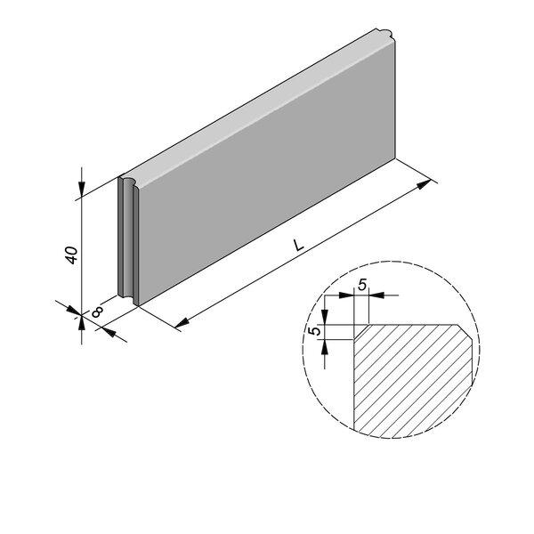 Product image for Bordure Classic tenon/mortaise 40x8cm (Hxl)