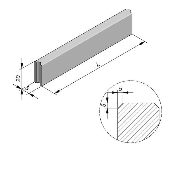 Product image for Bordure Classic tenon/mortaise 20x8cm (Hxl)