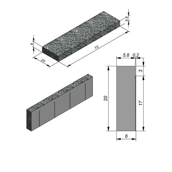 Product image for Afdeksteen Walling Line Carreau 75x20x6cm (LxBxH)