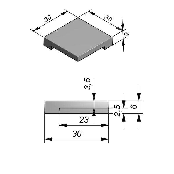 Product image for Megategel Smooth margelle de piscine pièce coin 30x30cm (Lxl)