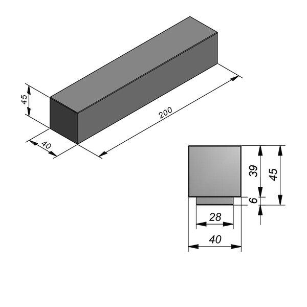 Product image for Beam Straight Smooth met voet 200x40x45cm (LxBxH)
