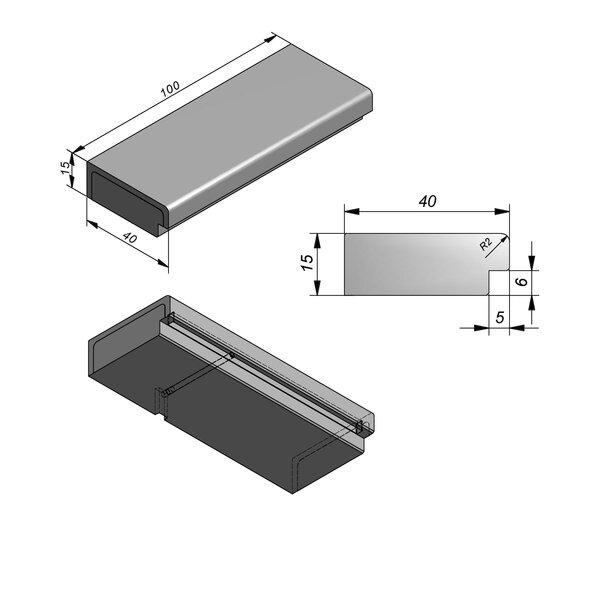 Product image for Mega-Escalier Smooth avec evidément 15x40cm (Hxl)