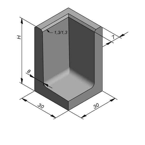 Product image for Elément en L coin type 50 30x30cm (lxL)