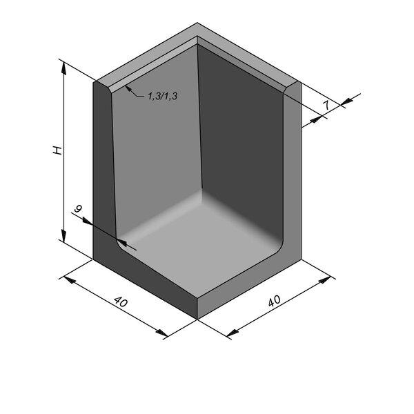 Product image for Elément en L coin type 50 40x40cm (lxL)