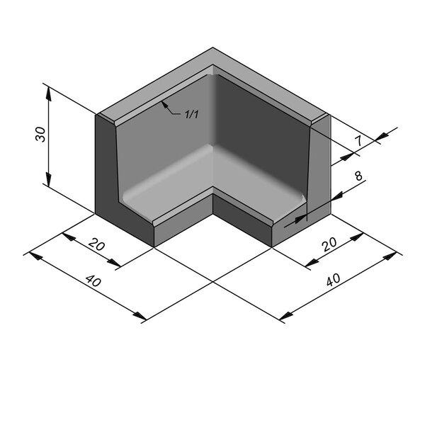 Product image for Elément en L coin type 40 20x40cm (lxL)