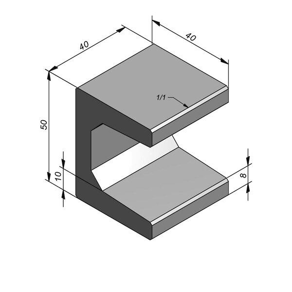 Product image for Elément en U type 40 40x40cm (lxL)